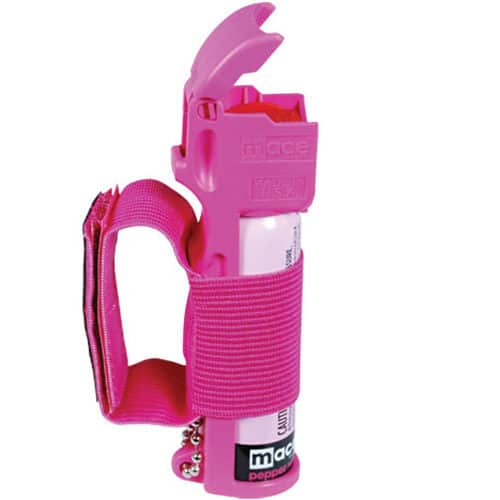 Mace®Pink Pepper Spray for Joggers Side View of Velcro Like Hand Holder and Flip Top Actuator