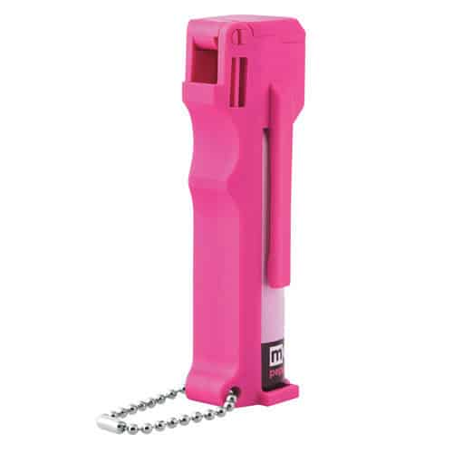 Mace® Personal Model Hot Pink 10% Pepper Spray Back View of Key Chain and Plastic Molded Holder