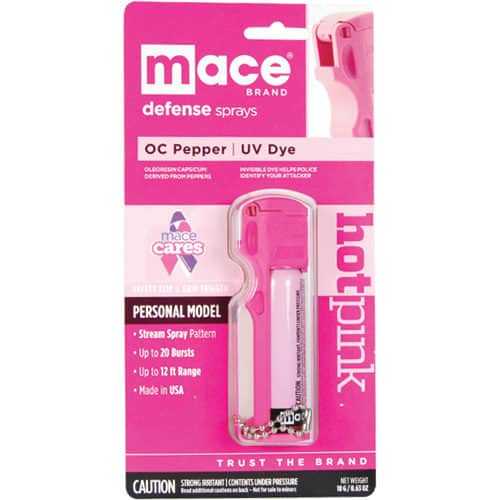 Mace® Personal Model Hot Pink 10% Pepper Spray Viewed in Plastic Packaging with Information Card