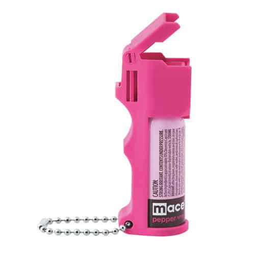 Hot Pink Pepper Spray Pocket Model with Keychain By Mace Side View Showcasing the Flip Top