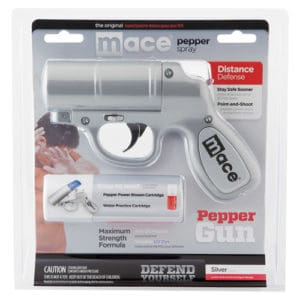 Mace® Silver Pepper Gun Side View in Blister Package