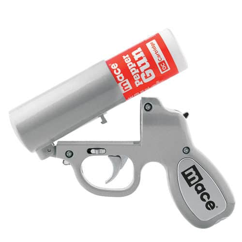 Silver Mace® Pepper Gun Viewed with Gun Opened and Pepper Canister Inserted