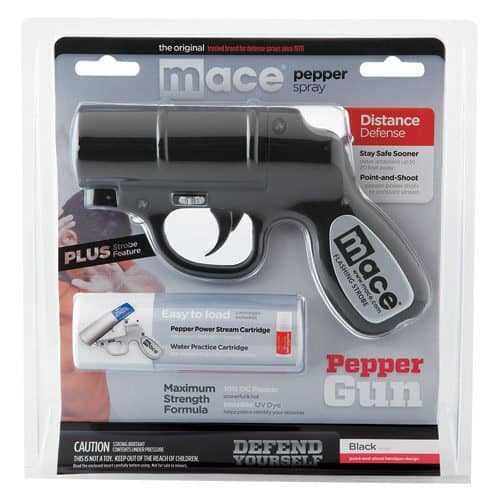 Mace®Black Pepper Gun Side View in Blister Pack with Information Card