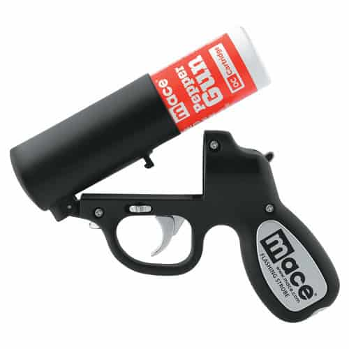 Mace®Black Pepper Gun Side View with Gun Opened Revealing Pepper Spray Canister