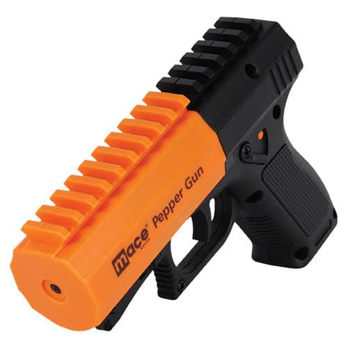 Black and Orange Mace® Brand Pepper Gun 2.0 Front View