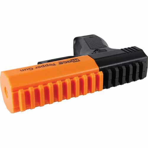 Orange and Black Mace® Brand Pepper Gun 2.0 Laying Down Closed View