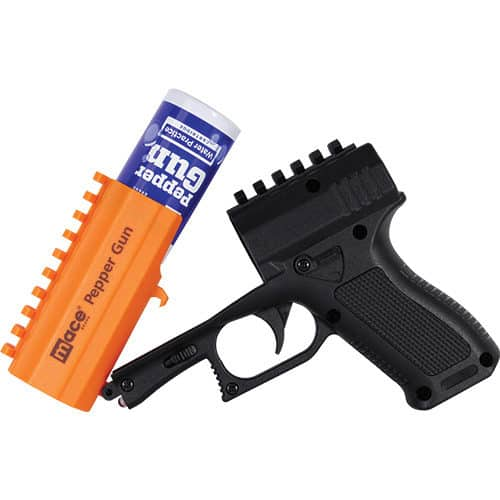 Orange and Black Mace® Brand Pepper Gun 2.0 Side View Opened Revealing Pepper Cartridge