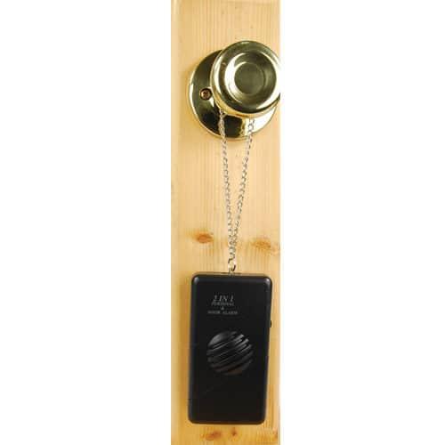 2 In 1 Personal and Door Alarm Viewed Hanging on Door-Knob