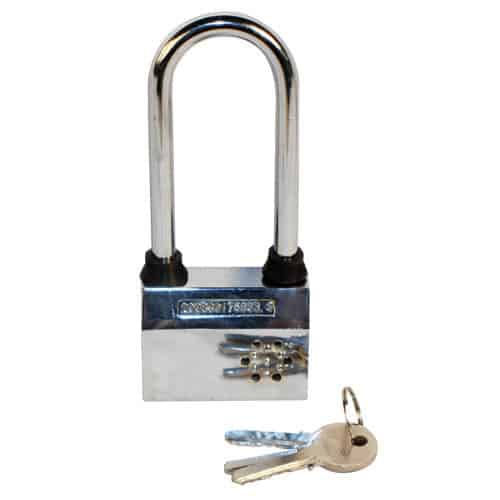 Alarmed Padlock Front View with Keys
