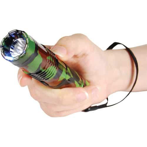 BashLite Camouflage 15,000,000 volt Stun Gun Flashlight Combo Viewed in Hand