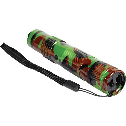 15,000,000 volt BashLite Camouflage Stun Gun Flashlight Combo Viewed Laying Down - Wrist Strap
