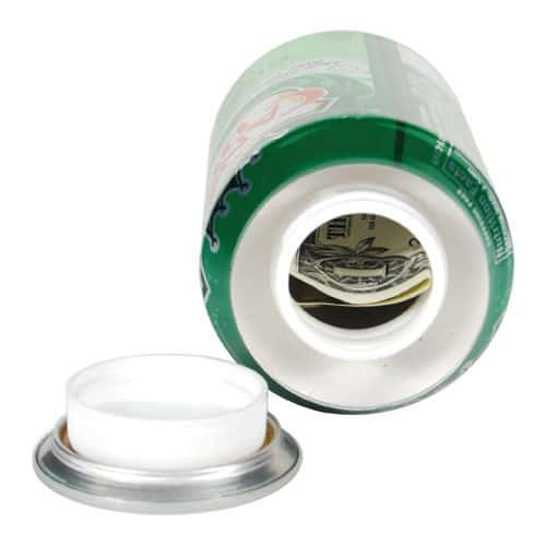 Ginger Ale Can Diversion Safe Top View Opened Revealing Stash Chamber