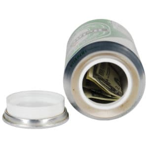 Lager Beer Can Hidden Stash Diversion Safe Top View Opened Revealing Secret Compartment