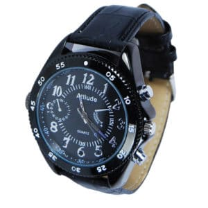 Wireless Hidden Covert Watch Camera with Built-In DVR Viewing Face and Black Band