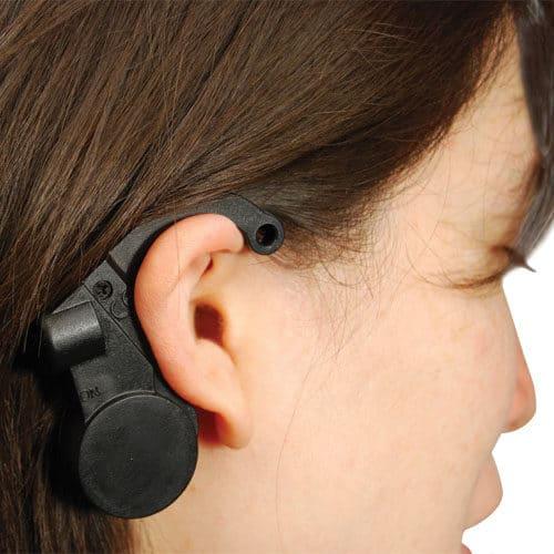 Driver Drowsiness Detection Sensor and Alarm Viewed Over Ear