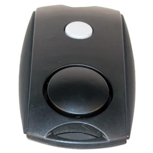 Black Mini Personal Alarm LED flashlight Front View