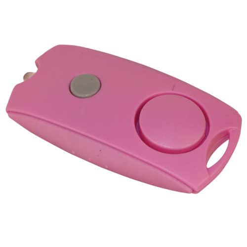 Mini Pink Personal Alarm with LED flashlight Front Top Angle View