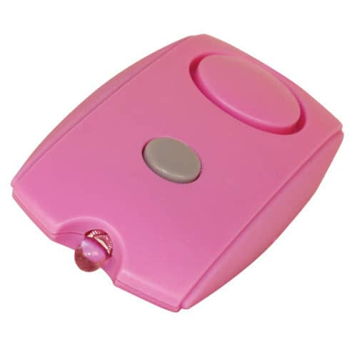 Mini Pink Personal Alarm with LED flashlight Side Angle View