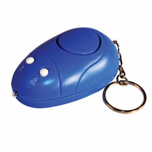 Blue Key chain Personal Alarm Side Angle View of Built-in Safety Light