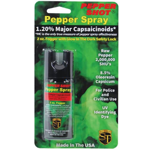 2 ounce Pepper Shot Fogger Pepper Spray Front View in Blister Packaging