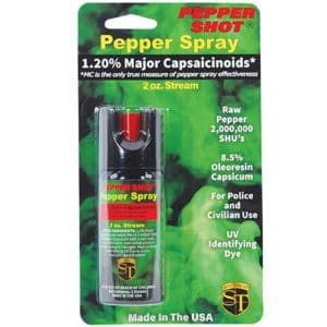 2 ounce Pepper Shot Stream Pepper Spray Front View of Blister Pack
