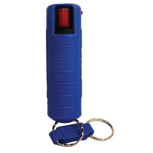Blue Pepper Shot 1.2% MC 1/2 oz Pepper Spray Hard Case Belt Clip and Quick Release Key Chain Front View