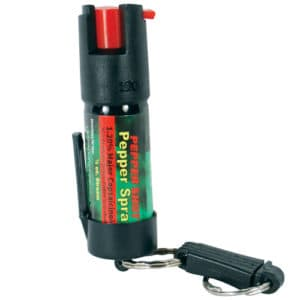 Front View of 1/2 oz Pepper Shot Pepper Spray Belt Clip and Quick Release Key Chain
