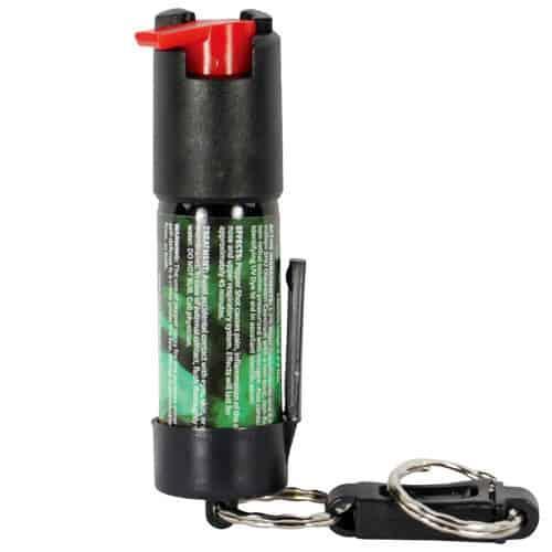 1.2% MC Pepper Shot Pepper Spray Belt Clip and Quick Release Key Chain Back View