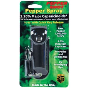 Pepper Shot 1/2 oz Pepper Spray Black Leatherette Holster Blister Packaging View