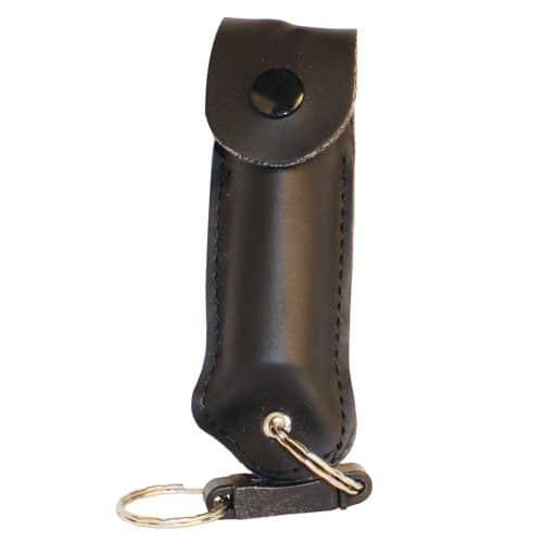 Pepper Shot 1/2 oz Pepper Spray Black Leatherette Holster Side View