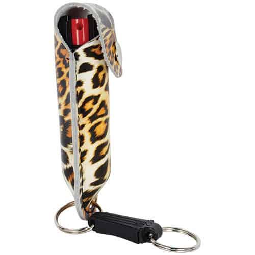 Leopard Black and Orange Pepper Shot 1/2 oz Pepper Spray Leatherette Holster Side View