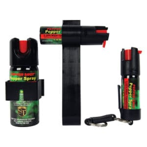 Pepper Shot 1.2% MC Tri-Pack Pepper Spray Front View of three sizes - 2 oz, 1⁄2 ounce auto visor, 1⁄2 ounce