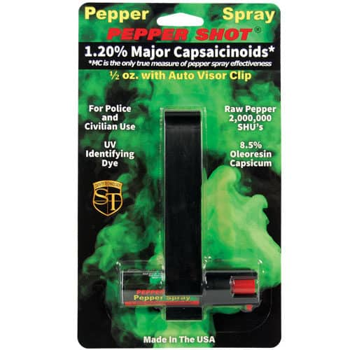 Vehicle Mounted Pepper Shot 1.2% MC 1/2 oz w/Auto Visor Clip Viewed in Blister Pack