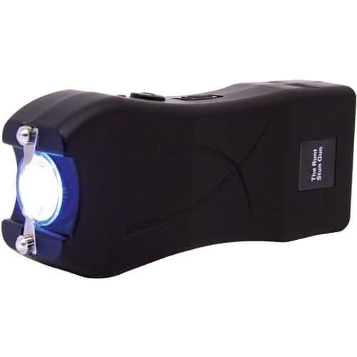 Black Runt Stun Gun with Flashlight Side View