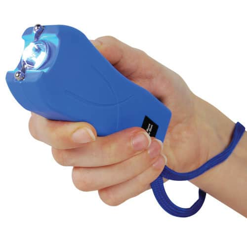 Blue Runt Stun Gun with Wrist Strap In Hand