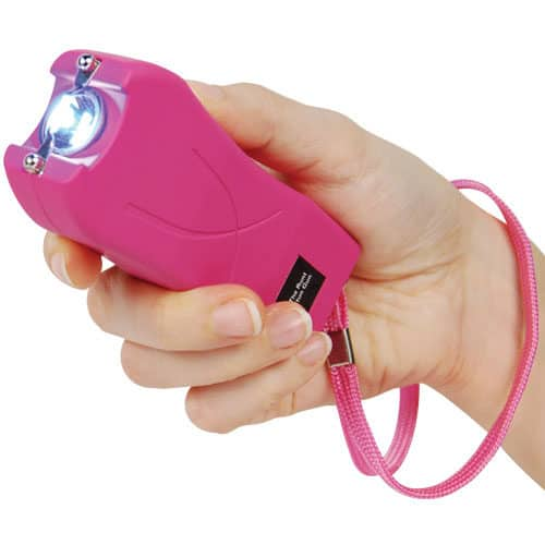 Runt Pink Stun Gun with Wrist Strap Viewed In Hand