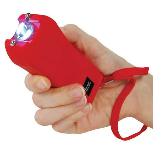 Red Runt Stun Gun with Wrist Strap Shown In Hand