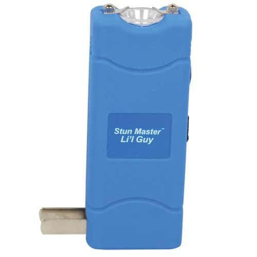 4.4 Milli-Amp Lil Guy Small Purple Rechargeable Stun Gun Viewed with Charging Plug