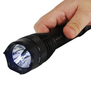 Mini Badass 15,000,000 volts Stun Gun Flashlight Viewed in Hand