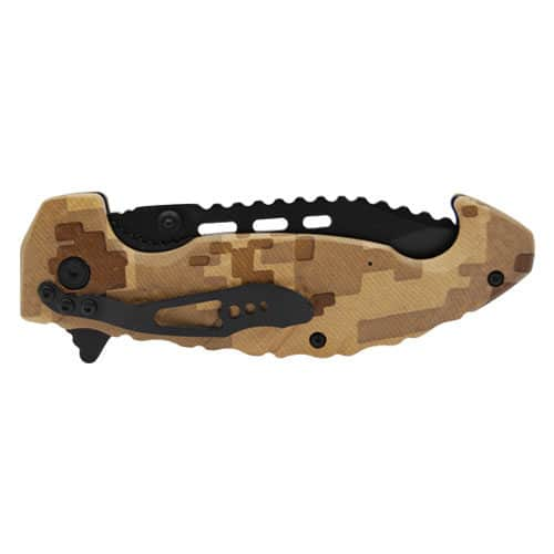 Folding Knife Spring Assisted Brown Digital Camo Closed View
