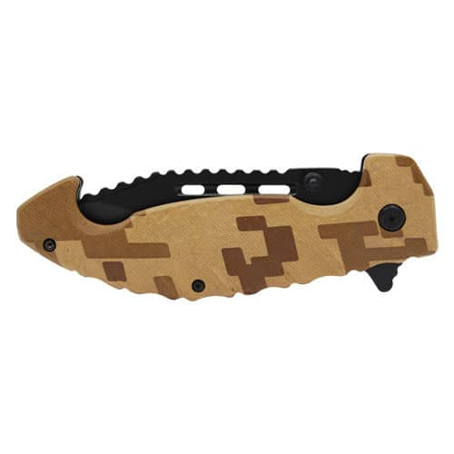 Brown Digital Camo Spring Assisted Folding Knife Closed View