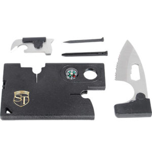 Multi Purpose Pocket Survival Card Exploded View of All 10 Essential Tools
