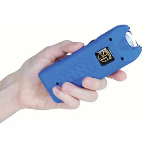 MultiGuard Blue Stun Gun Rechargeable with Personal Alarm and LED Flashlight Shown in Hand
