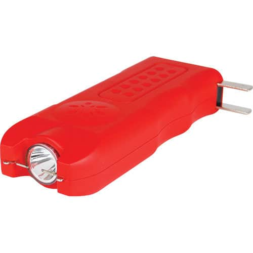 Red MultiGuard Stun Gun Personal Alarm Showing Built in Re-charger and 120 Lumen LED Flashlight