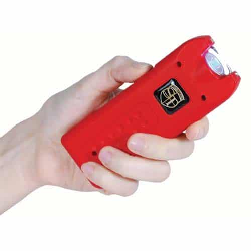 MultiGuard Red Rechargeable Stun Gun Personal Alarm with LED Flashlight Viewed in a Woman's Hand