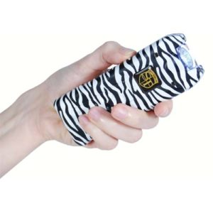 MultiGuard Rechargeable Zebra Print Stun Gun With Personal Alarm and LED Flashlight Demonstrated in Hand