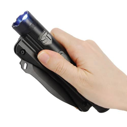 Stun Gun Knife Flashlight Combo Viewed In Hand Blade Closed
