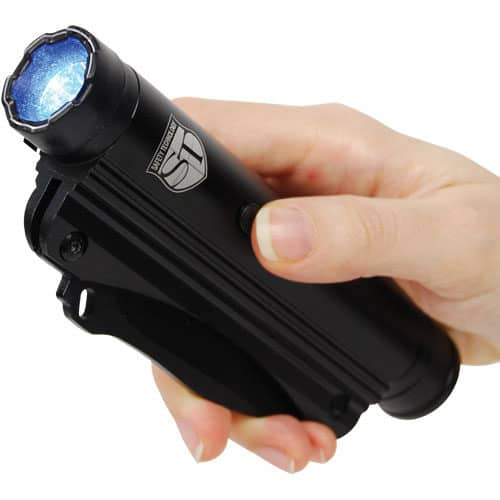 Stun Gun Knife Flashlight Combo Viewed In Hand