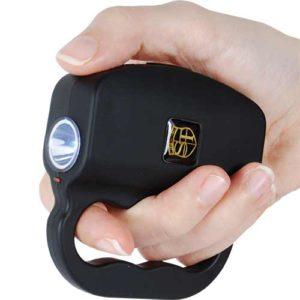 Black 18,000,000 Volt Talon Small Stun Gun LED Flash Light Displayed Viewed in Hand