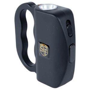 Front View Black 18 Million volt Talon Stun Gun with LED Flashlight